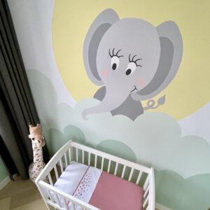 Muurschildering babykamer olifant