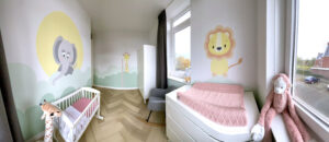 muurschildering babykamer alle muren