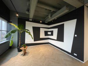 geometrische vormen op de muur