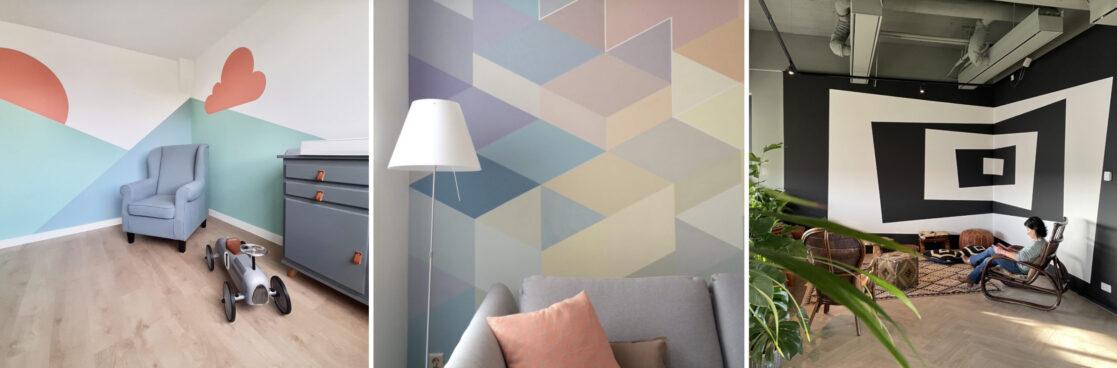 geometrische vormen op de muur verven
